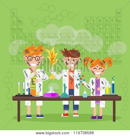 Cartoon chemistry concept with chemistry kids. Chemistry laboratory. Chemistry test. Chemistry experiment. Children are studying and working in chemistry lab. Isolated chemistry. Chemistry fun. Chemistry concept. Chemistry lesson. Medical test.