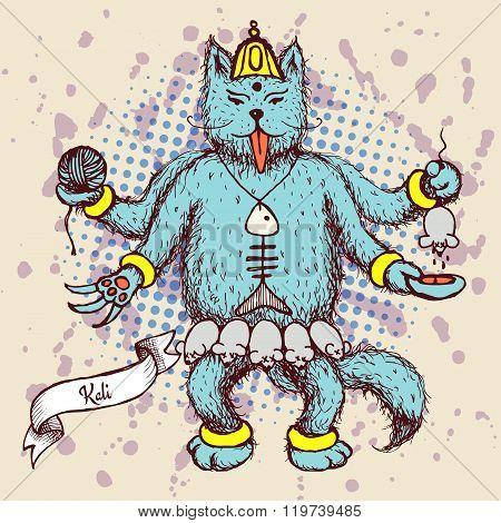Kali Indian God In Cat Cartoon