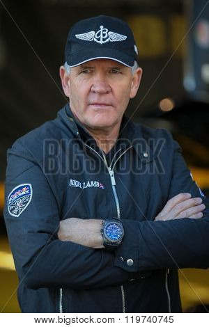 SPIELBERG, AUSTRIA - OCTOBER 25, 2014: Nigel Lamb (Great Britain) posing for a photo before the Red Bull Air Race.