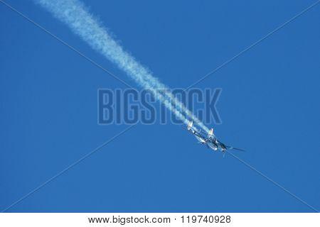 SPIELBERG, AUSTRIA - OCTOBER 26, 2014: Lockheed P-38 Lightning flys in a flight display during the Red Bull Air Race.
