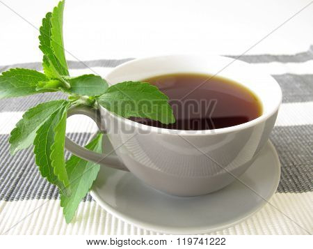 Cup of black coffee and stevia