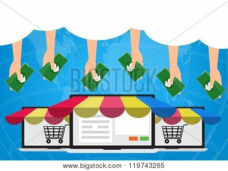 Hands With Money From Cloud On Internet For Shopping Online.vector Illustration Omnichannel Online