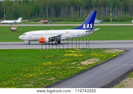 Sas Scandinavian Airlines Boeing 737-683 Aircraft  In Pulkovo International Airport In Saint-petersb