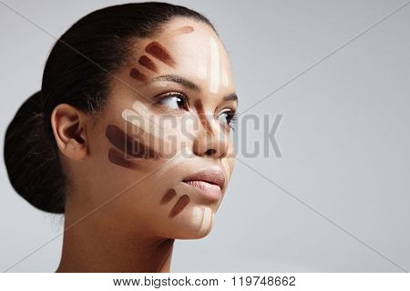 Woman With A Face Shape Correction. Strobing And Sculpting