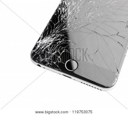 Damaged Iphone On White Background