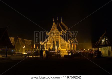 People Walking Around Church In Triple Circumambulation Ceremony In Magha Puja Day