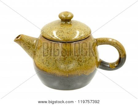 Brown Teapot Ceramic Isolated On White Background, With Clipping Path.