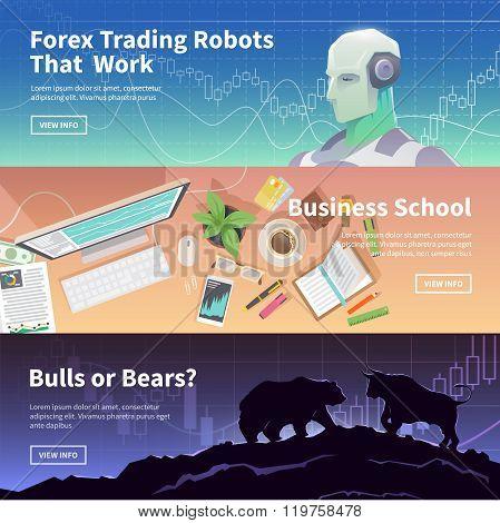Stock exchange trading set of web banners