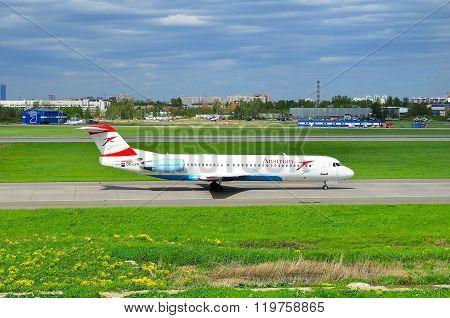 Austrian Airlines Fokker 100  Aircraft  In Pulkovo International Airport In Saint-petersburg, Russia