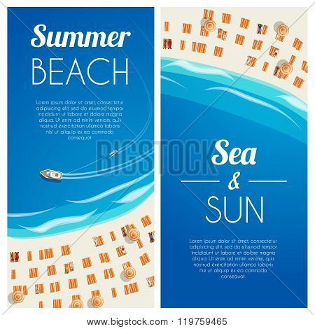 Sunny Summer Beach Vertical Banners With Beach Chairs And People. Vector Illustration, Eps10.