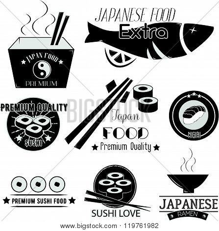 Vector set of sushi labels. Japanese food restaurant logo, icons. Asian cuisine illustration.