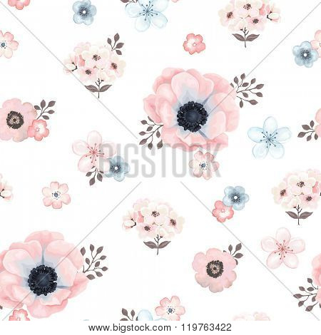Seamless soft pattern with anemones, small flowers and brown twigs in vintage watercolor style, vector illustration.