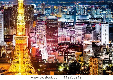 Tokyo Tower Night View From Roppongi Hills