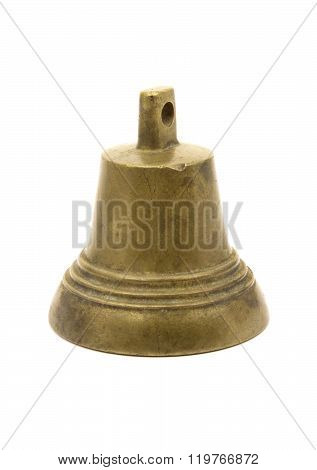 A small old brass bell isolated on white