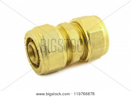 Brass fitting for connecting metal-plastic pipes isolated on white