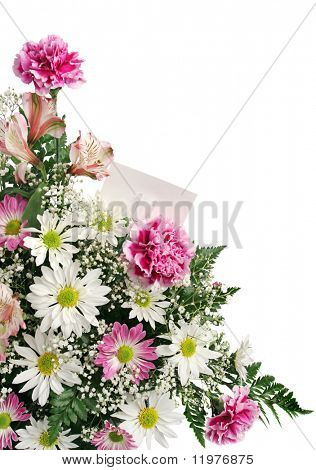 A vertical flower border with a gift card isolated on white.