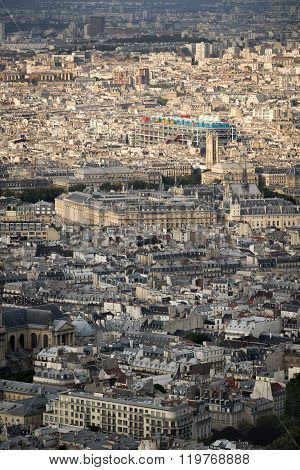 Aerial View Of Central Paris With Pompidou Center, France