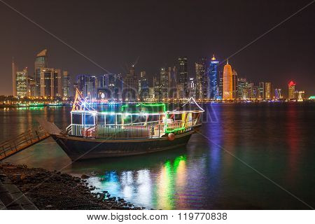 Dhow And Doha Skyline At Night