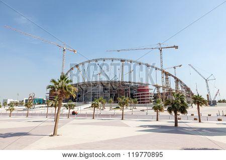 DOHA, QATAR  - NOV 20, 2015: Khalifa Stadium in the Aspire Zone of Doha under total renovation. Doha Qatar Middle East