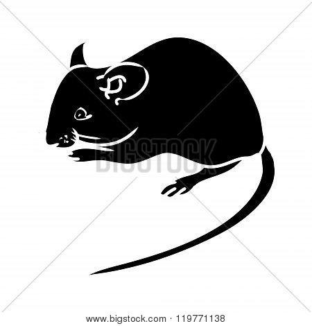 Rat, Mouse - Black Silhouette 1