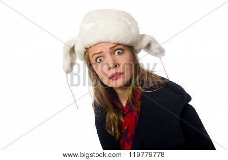 Woman with hat in funny concept