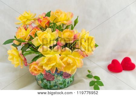 Yellow Roses Bouquet And Small Hearts