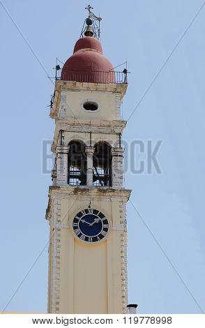Yellow The Town Hall With Clock In Kerkyra. Corfu. Greece.