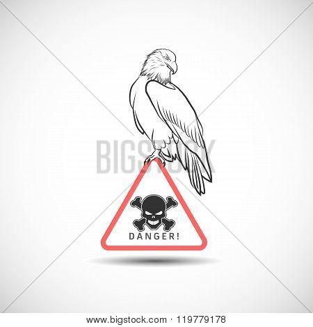 Vector eagle on danger symbol