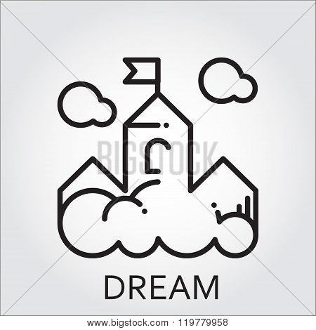 Line vector icon with a picture of dream as cloud-castle