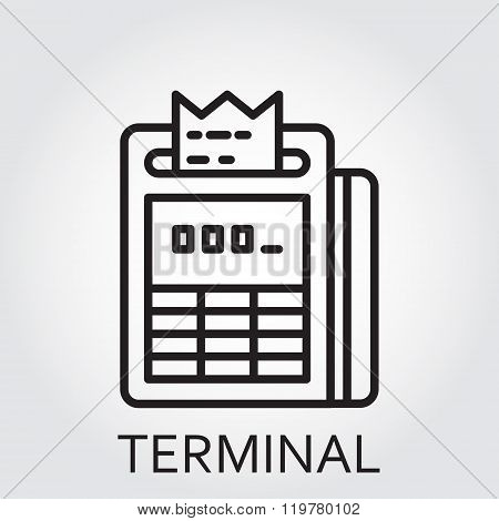 Black flat Line vector icon with a picture of payment, pay as terminal on white background.