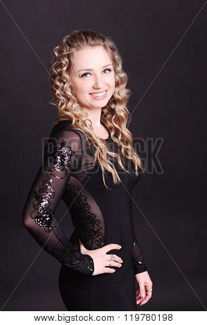 Beautiful woman over black