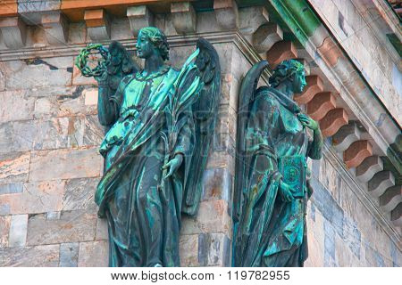 SAINT PETERSBURG, RUSSIA - FEB 26, 2016: Two angels. Detail of Saint Isaac's Cathedral Fasade