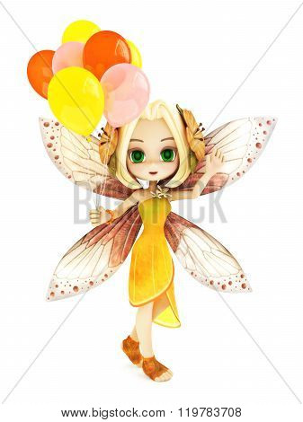 Cute toon fairy with wings smiling holding balloon's on a white isolated background.