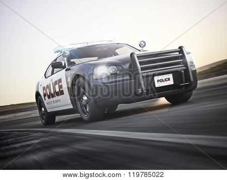 Police car running with lights and sirens on a street with motion blur.