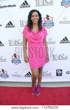 Crystal Nicole Jones arrives at the inaugural Stephen Bishop celebrity golf invitational benefiting R.A.K.E. on Feb. 15, 2016 at Calabasas Country Club in Calabasas, CA.