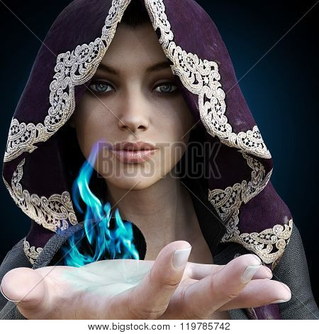 Female sorcerer with blue magic coming from her hand on a gradient black background.