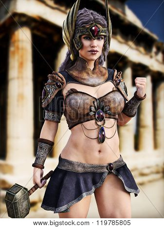 Female Goddess of war posing in front of Greek architecture . Photo realistic 3d model scene.