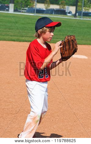 Little League Baseball Player Holding Glove.