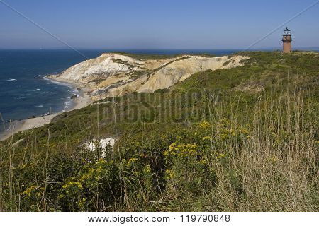 Lighthouse Over Cliffs On Martha's Vineyard