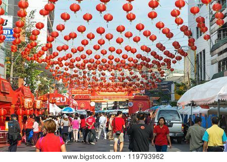 Dozens Of Chinese Paper Lanterns Suspended Over A Street In Chinatown