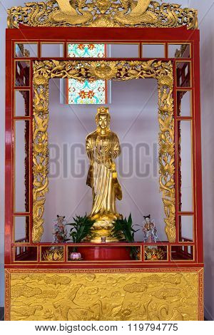 Statue Of Kuan Yin, The Goddess Of Mercy At Canton Shrine