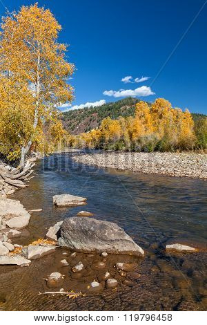 Mountain River in Fall