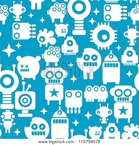 Seamless pattern with white silhouettes of robots on blue background.