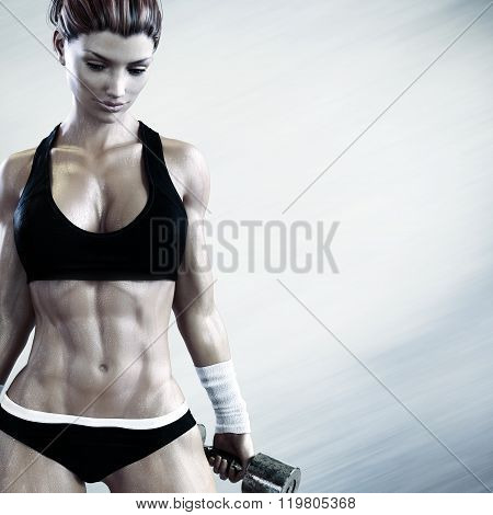 Fit female with a candid pose with weights after a strenuous workout with room for advertiseme