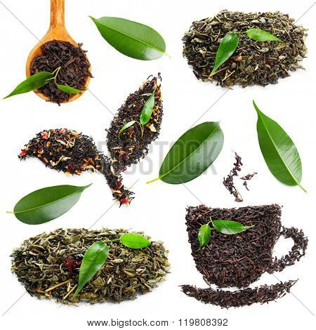 Set of dried tea with fresh green leaves, isolated on white