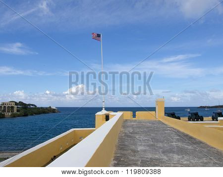 Flag Atop Of Ft. Christiansted