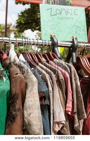 Rack Of Zombie Clothes On Sale At Atlanta Pub Crawl