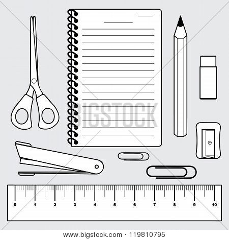 vector of stationery collection office and school supplies poster