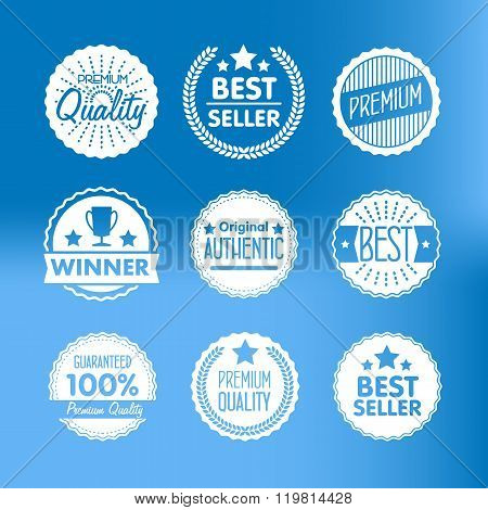 Flat vector badges set. Badges of best choice. Collection of different badges. Isolated badges. Best seller badges. Winner award badges. Premium quality badges. Badges with ribbon.  Badges icon. Winner cup badge. Premium logo. Premium quality icon. Badge.