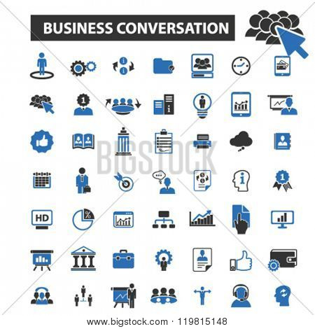 business conversation icons, business conversation logo, business conversation vector, business conversation flat illustration, business conversation infographics, business conversation symbols